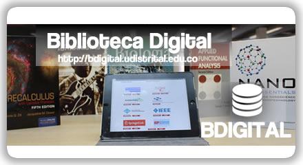Imagen con libro y computador promocionando el servicio BDIGITAL de la UD