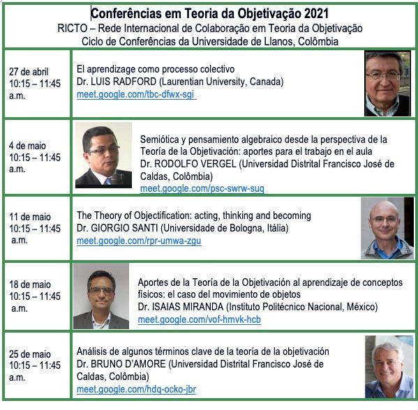 Tabla con fechas, títulos de conferencias y fotos del ciclo de TO