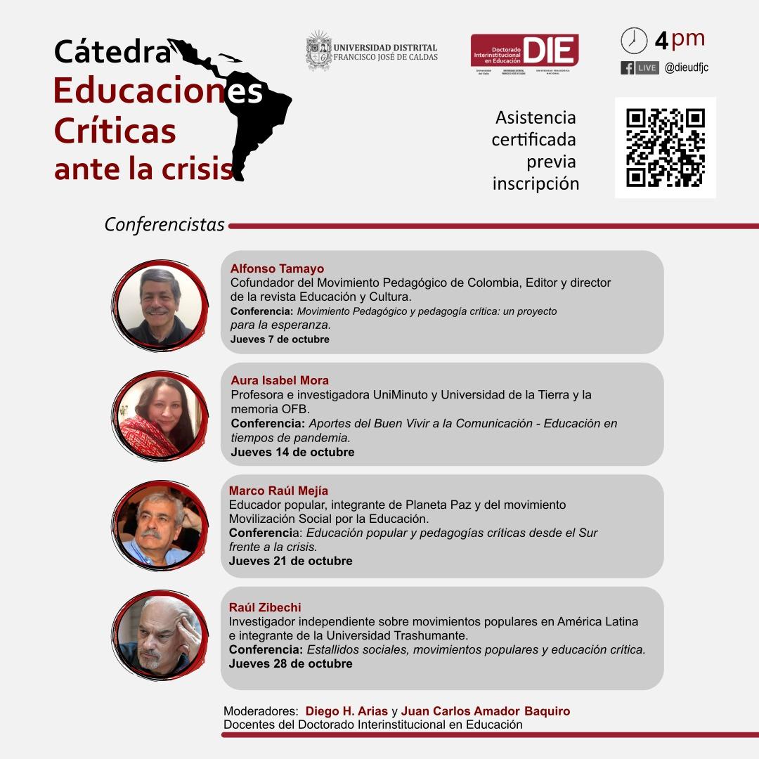 Invitados e información de conferencias de la Cátedra Educaciones Críticas ante la crisis