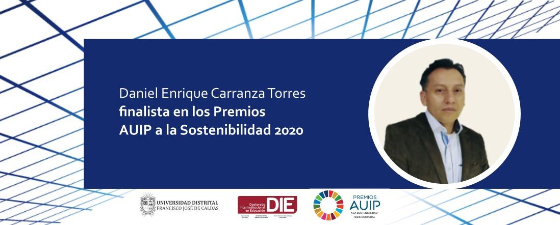 Banner por reconocimiento a Daniel Carranza como finalista en los Premios AUIP a la Sostenibilidad