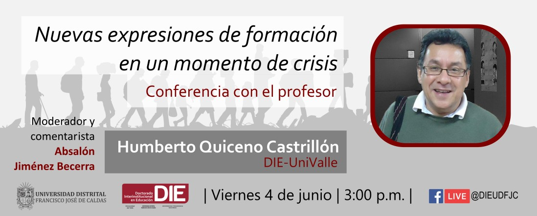 Invitación a la conferencia de Humberto Quiceno, la imagen tiene la foto del profesor Quiceno