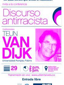 Afiche de la conferencia del DIE Discurso Antirracista