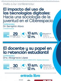 Afiche de las conferencias de Alava y Altagracia en el DIE, mes Marzo