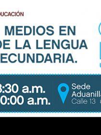 banner de la conferencia El papel de los medios en la enseñanza de la lengua en educación secundaria