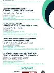 Afiche de las conferencias del Seminario Miradas Abril-Mayo de 2017