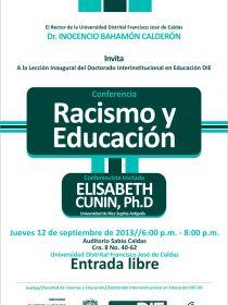 afiche de Racismo y Educación - Lección Inaugural Doctorado Interinstitucional en Educación