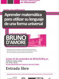 afiche de Conferencia Seminario Miradas Contemporáneas - Aprender Matemática para Utilizar su Lenguaje de una Forma Natural