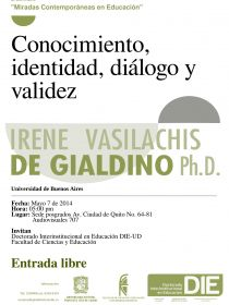 afiche de Conocimiento, identidad, diálogo y validez