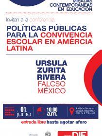 Afiche de la conferencia Políticas Públicas para la Convivencia Escolar en América Latina