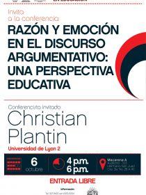 Afiche de la conferencia Razón y emoción en el discurso argumentativo: Una perspectiva educativa