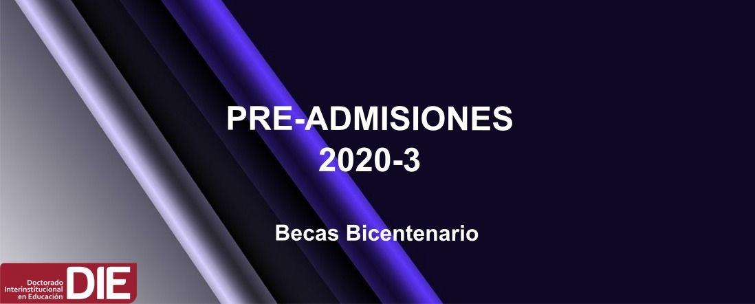 Banner del proceso de Preadmisión 2020-3 becas bicentenario