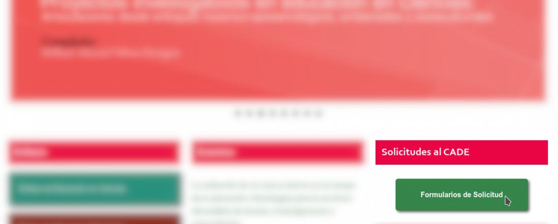 Imagen de parte del frontpage de la página web del DIE