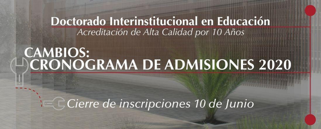 Banner por el Cambios en el cronograma de admisiones 2020