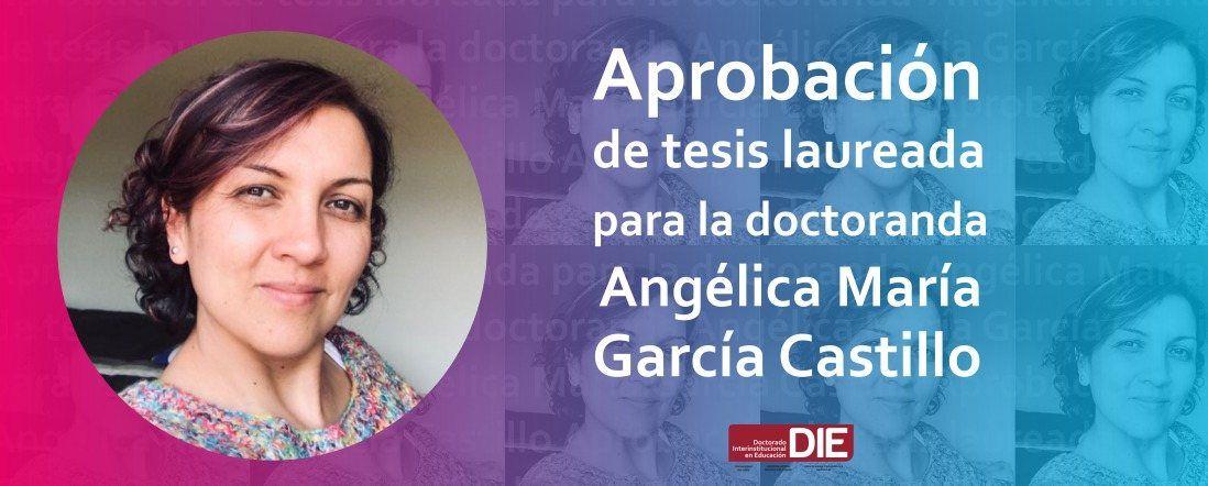 Banner por reconocimiento de laureada a tesis de Angélica Gracía