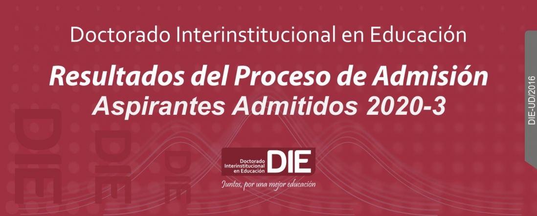 Banner para la publicacion de admitidos al DIE-UD 2020-3