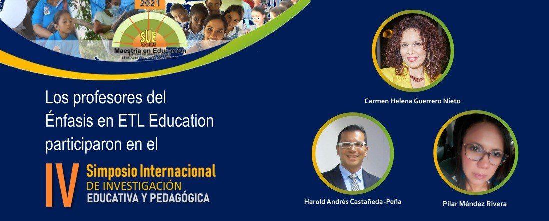 Fotos de los tres profesores del énfasis ELT que participaron en el Simposio y logo del evento