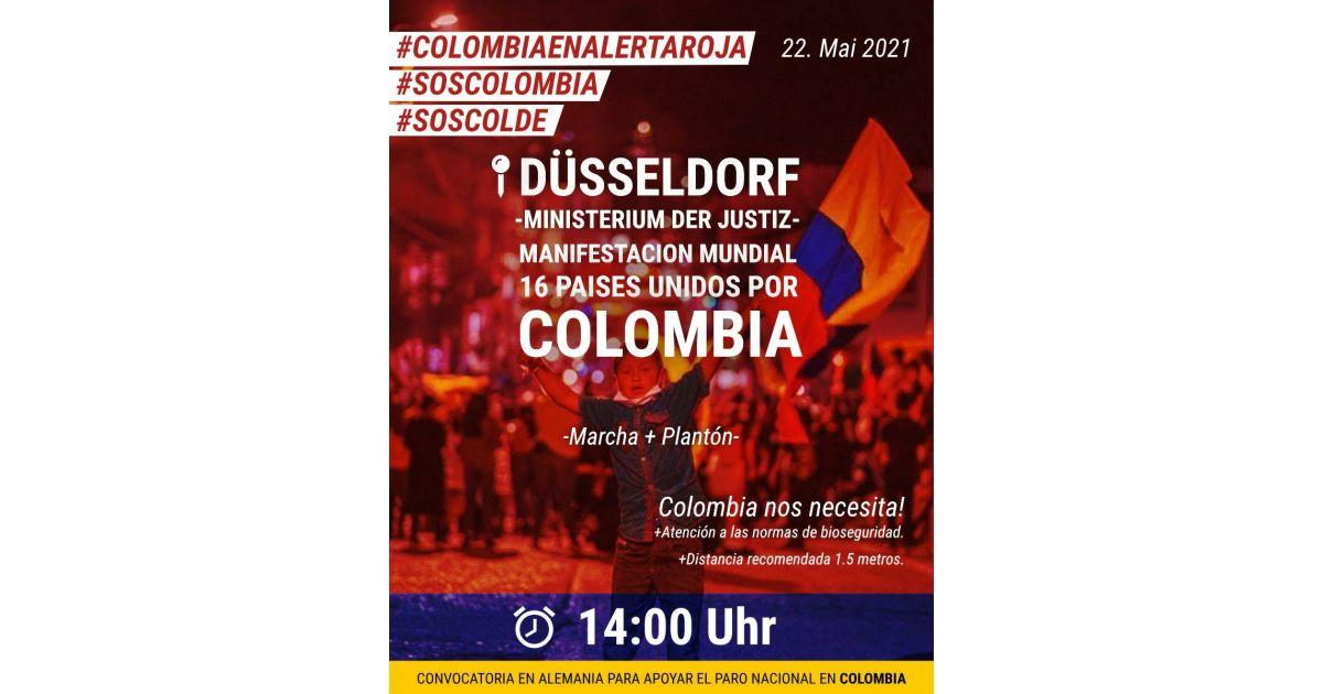 Invitación a apoyar el paro nacional en Colombia el 22 de mayo en Düsseldorf, Alemania