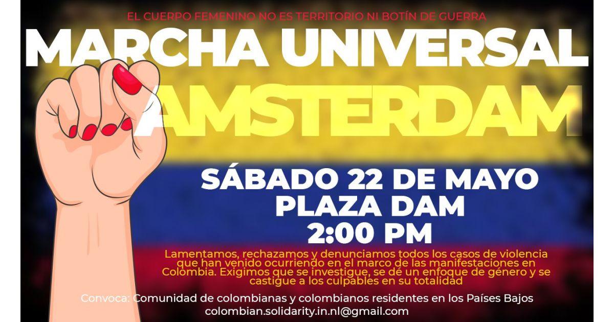 Invitación a marcha universal por Colombia el 22 de mayo en Amsterdam, Holanda