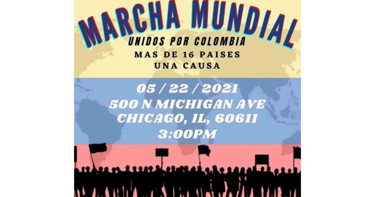 Invitación a marcha mundial por Colombia el 22 de mayo en Michigan, Estados Unidos