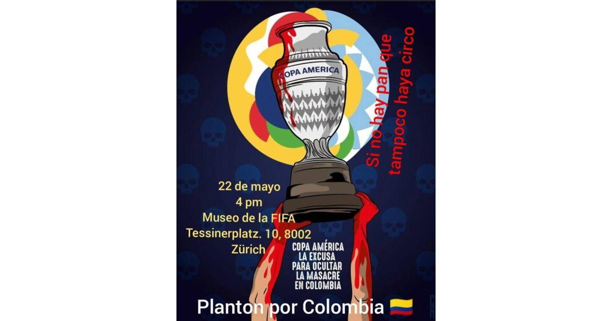 Invitación a realizar plantón por Colombia el 22 de mayo en museo de la FIFA, Zúrich, Suiza