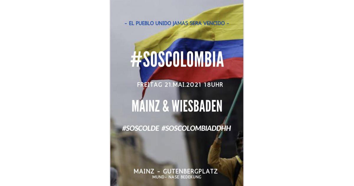 Invitación a marcha SOS por Colombia en Mainz y Wiesbaden, Alemania, 21 de mayo