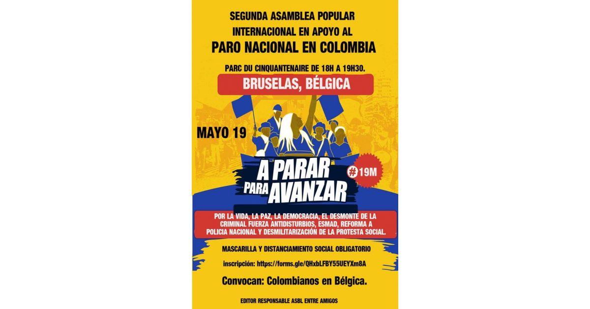 Invitación a marchar en apoyo al paro nacional en Colombia en Bruselas, Bélgica, 21 de mayo