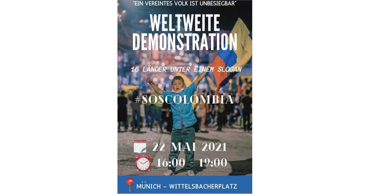 Invitación a marchar SOS por Colombia en Münich, Alemania el 22 de mayo