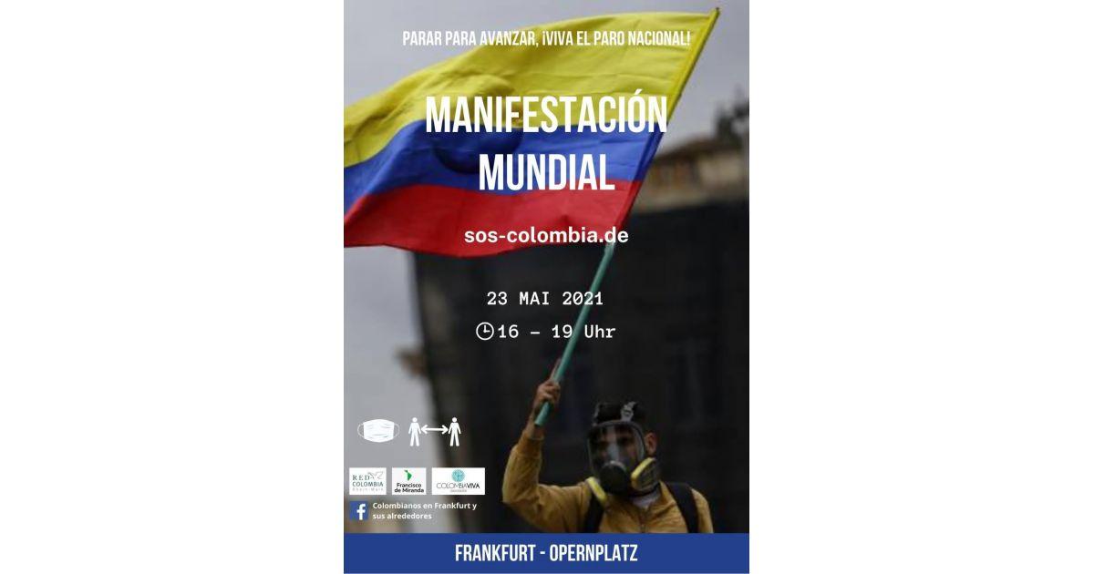 Invitación a marchar mundial en Frankfurt en apoyo al paro nacional en Colombia, 23 de mayo