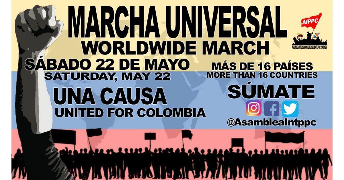 Invitación a marchar el 22 de mayo por Colombia en 16 diferentes países