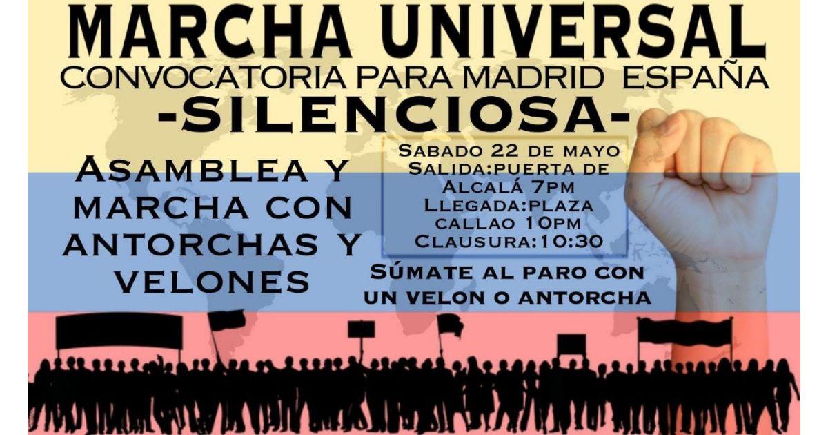 Invitación a marcha Universal por Colombia el 22 de mayo en Madrid, España