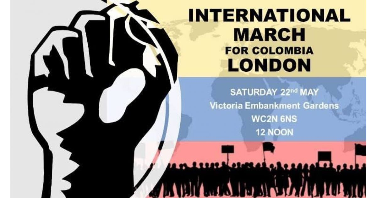 Invitación a marcha Internacional por Colombia el 22 de mayo en Londres, Inglaterra