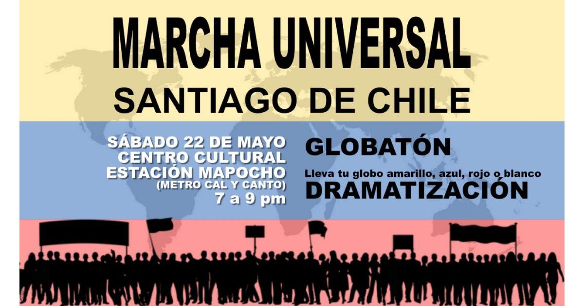 Invitación a marcha universal por Colombia el 22 de mayo en Santiago de Chile