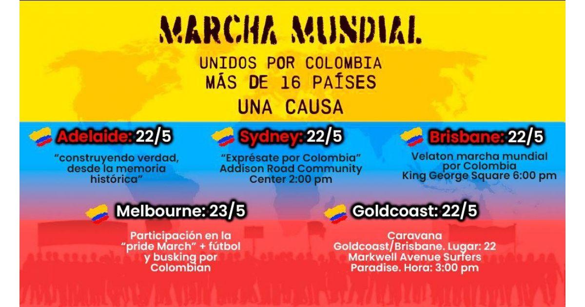 Invitación a marcha mundial unido por Colombia el 22 de mayo en cinco ciudades de Australia