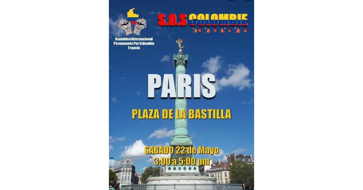 Invitación a marcha SOS por Colombia el 22 de mayo en París, Francia