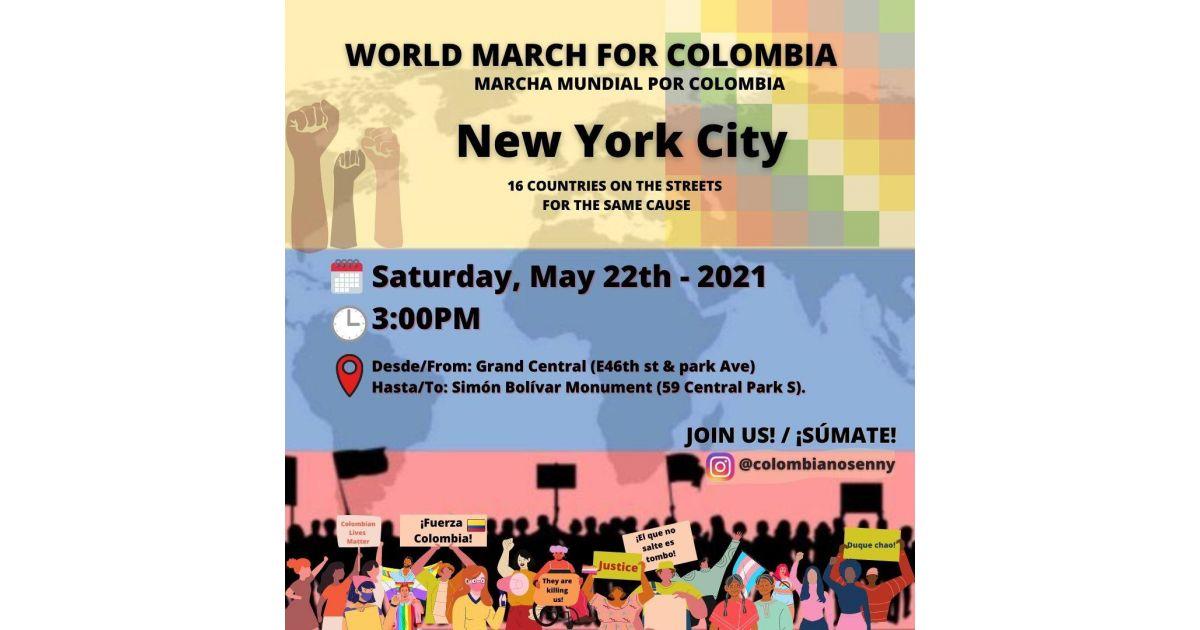 Invitación a marcha mundial por Colombia el 22 de mayo en New York, Estados Unidos
