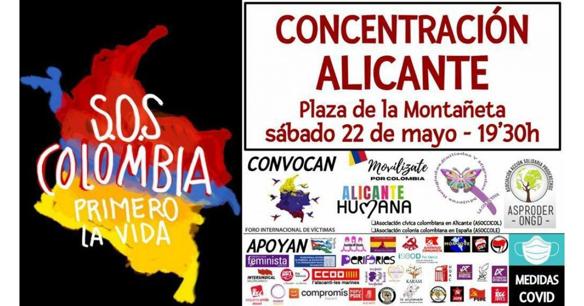 Invitación a marcha SOS por Colombia el 22 de mayo en Alicante, España
