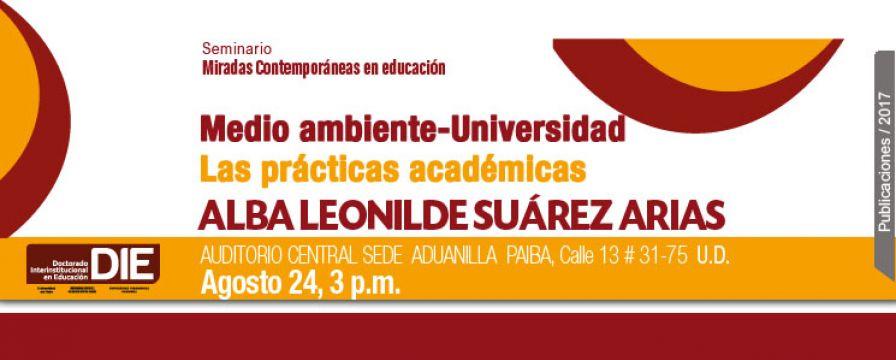Banner de la conferencia de Alba Leonilde Suárez Arias