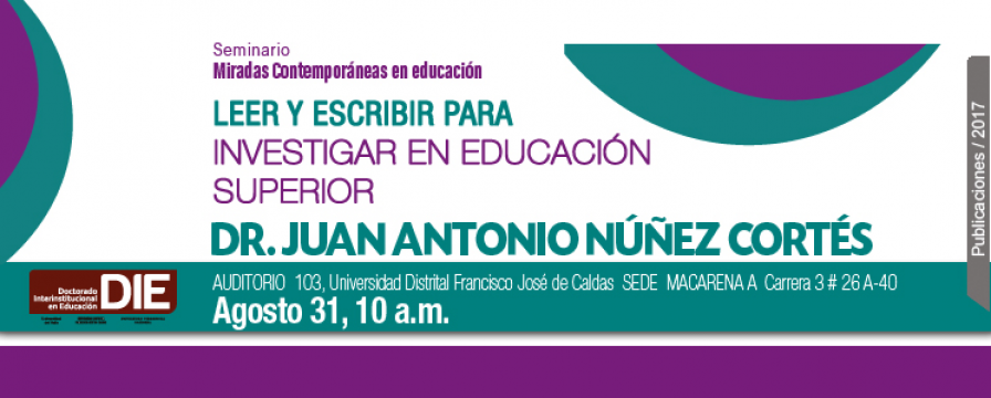 Banner de la conferencia Leer y escribir para investigar en educación superior
