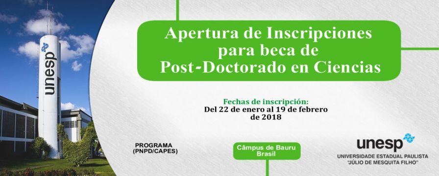 Banner de la apertura de beca de postdoctorado en ciencias