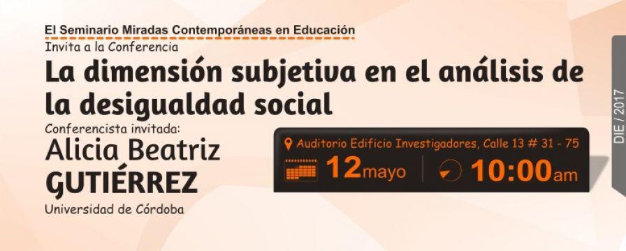 Banner de la conferencia La dimensión subjetiva en el análisis de la desigualdad social