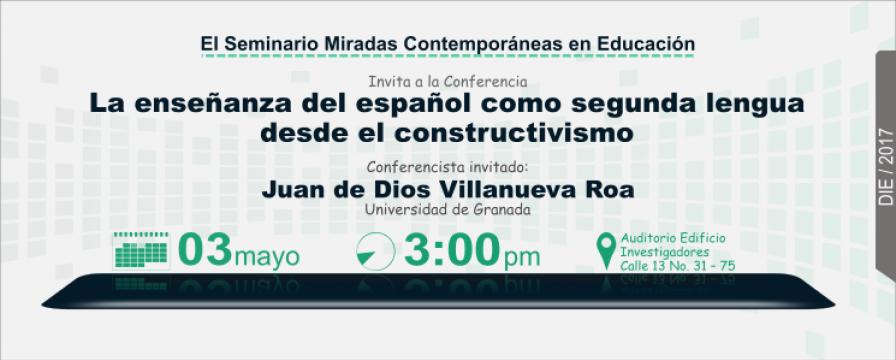 Banner de la conferencia La enseñanza del español como segunda lengua desde el constructivismo