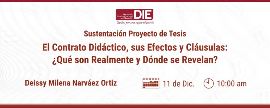 Banner de la sustentación del Proyecto de Tesis de Deissy Narváez