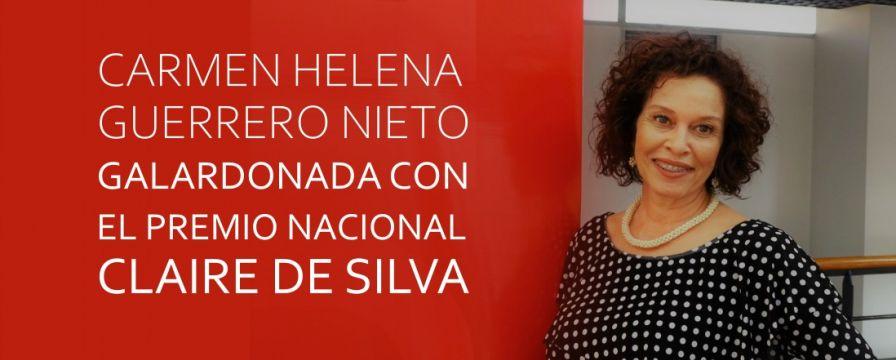 Banner por premio entregado a Carmen Helena Guerrero