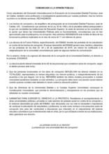 Comunicado de estudiantes del DIE por la actual situación de la Universidad Distrital